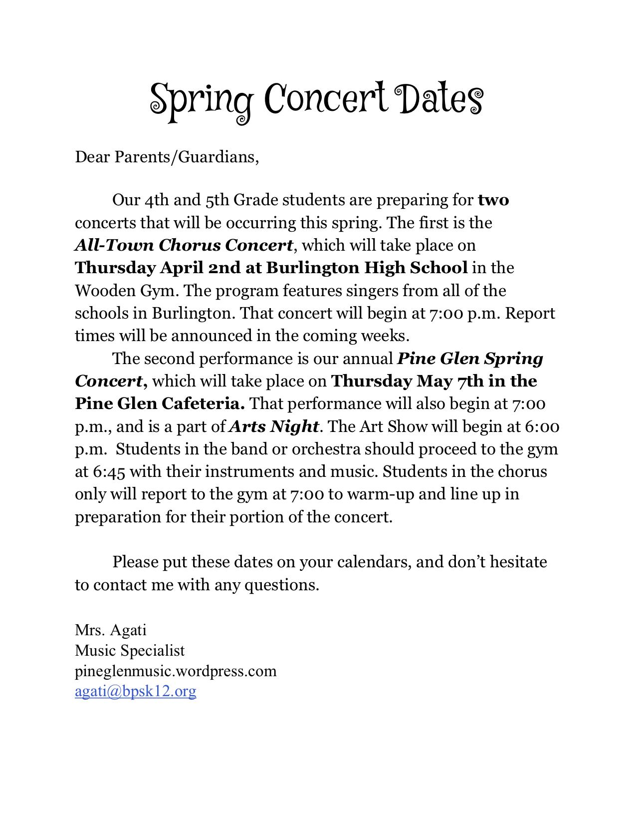 Spring Concert Dates 2019